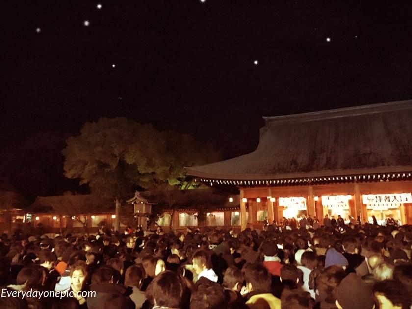 Le Kashihara Jingū le soir du réveillon du nouvel an